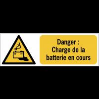 Panneaux ISO 7010 horizontaux Danger Charge de la batterie en cours - W026