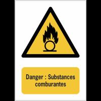 Panneaux NF EN ISO 7010 A3/A4/A5 Danger Substances comburantes - W028