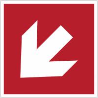 Panneaux et autocollants NF EN ISO 7010 Flèche Incendie Oblique - A045R