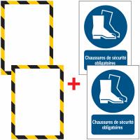 Porte-documents adhésifs à fermeture magnétique Chaussures de sécurité obligatoires
