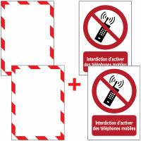 Porte-documents adhésifs à fermeture magnétique Interdiction d'activer des téléphones mobiles