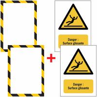 Porte-documents adhésifs à fermeture magnétique Danger Surface glissante