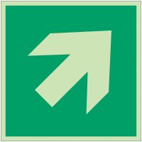 Autocollants et panneaux photoluminescents NF ISO 7010 Flèche directionnelle 45° - A045R