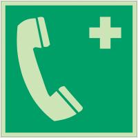 Autocollants et panneaux photoluminescents NF ISO 7010 Téléphone d'urgence - E004