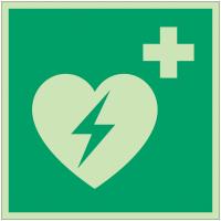 Autocollants et panneaux photoluminescents NF ISO 7010 Défibrillateur automatique externe pour le cœur - E010