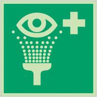 Autocollants et panneaux photoluminescents NF ISO 7010 Equipement de rinçage des yeux - E011