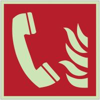 Autocollants et panneaux photoluminescents NF ISO 7010 Téléphone à utiliser en cas d'incendie - F006
