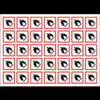 Autocollants CLP haute résistance en planche Matières inflammables - GHS02
