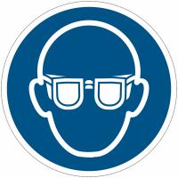 Pictogrammes NF EN ISO en aluminium Lunettes de protection obligatoires - M004