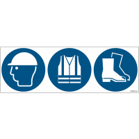 Pictogrammes ISO 7010 Casque, gilet & chaussures de sécurité