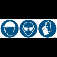 Pictogrammes ISO 7010 Casque, lunettes et gants obligatoires