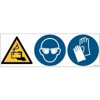 Pictogrammes ISO 7010 Lunettes & Gants, Danger Batterie