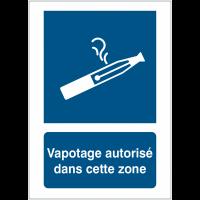 Panneaux et autocollants autorisation de vapoter avec texte