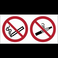 Autocollant horizontal interdiction de fumer et de vapoter