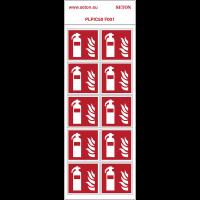 """Pictogrammes en planche NF EN ISO 7010 """"Extincteur Incendie"""" F001"""