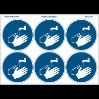 """Pictogrammes en planche NF EN ISO 7010 """"Lavage des mains obligatoires"""" M011"""