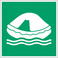 "Panneau maritime d'évacuation NF EN ISO 7010 photoluminescent ""Radeau de sauvetage"""