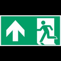 """Autocollants et panneaux avec fléchage NF EN ISO 7010 """"Homme qui court à gauche, flèche vers le haut"""" - E001"""