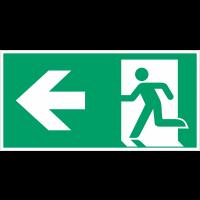 """Autocollants et panneaux avec fléchage NF EN ISO 7010 """"Homme qui court à gauche, flèche vers la gauche"""" - E001"""