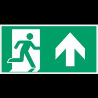 """Autocollants et panneaux avec fléchage NF EN ISO 7010 """"Homme qui court à droite, flèche vers le haut"""" - E002"""