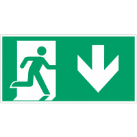 """Autocollants et panneaux avec fléchage NF EN ISO 7010 """"Homme qui court à droite, flèche vers le bas"""" - E002"""