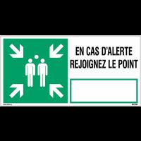 """Panneau point de rassemblement NF EN ISO7010 """"En cas d'alerte rejoignez le point"""" - E007"""
