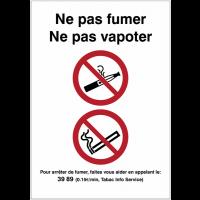 """Autocollant vertical """" Interdiction de fumer et de vapoter"""""""