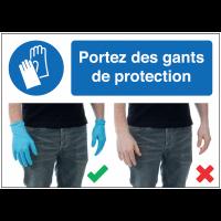 Autocollants et panneaux  bonnes pratiques - Portez des gants de protection