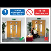 Autocollants et panneaux bonnes pratiques - Laissez les sorties libres d'accès - Ne les obstruez pas signalisation