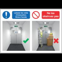 Autocollants et panneaux bonnes pratiques - Laissez les voies d'évacuation libres d'accès - Ne les obstruez pas signalisation
