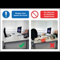 Autocollants et panneaux bonnes pratiques - Rangez votre espace de travail - Ne créez pas de situations dangereuses
