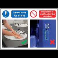 Autocollants et panneaux  bonnes pratiques - Lavez vous les mains Pour éviter la prolifération des microbes