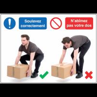 Autocollants et panneaux bonnes pratiques - Soulevez correctement N'abîmez pas votre dos