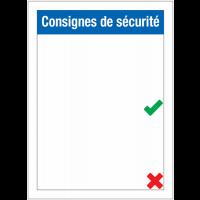 """Porte-affiche """"Consignes de sécurité"""" avec symboles à compléter"""