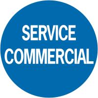 """Pastilles adhésives permanentes à texte """"service commercial"""""""