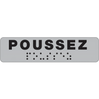 Plaque de porte Poussez en braille