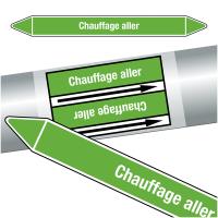 """Marqueurs de tuyauteries CLP """"Chauffage aller"""" (Eau)"""