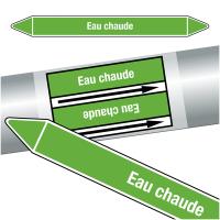 """Marqueurs de tuyauteries CLP """"Eau chaude"""" (Eau)"""
