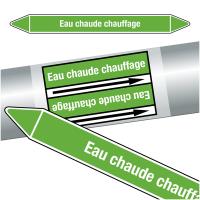 """Marqueurs de tuyauteries CLP """"Eau chaude chauffage"""" (Eau)"""