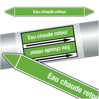 """Marqueurs de tuyauteries CLP """"Eau chaude retour"""" (Eau)"""