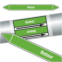 """Marqueurs de tuyauteries CLP """"Retour"""" (Eau)"""