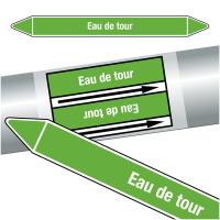 """Marqueurs de tuyauteries CLP """"Eau de tour"""" (Eau)"""