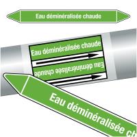 """Marqueurs de tuyauteries CLP """"Eau déminéralisée chaude"""" (Eau)"""