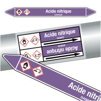"""Marqueurs de tuyauteries CLP """"Acide nitrique"""" (Acides et bases)"""
