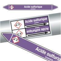 """Marqueurs de tuyauteries CLP """"Acide sulfurique"""" (Acides et bases)"""