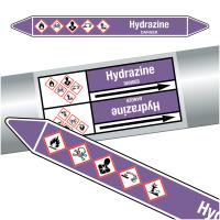 """Marqueurs de tuyauteries CLP """"Hydrazine"""" (Acides et bases)"""
