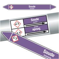 """Marqueurs de tuyauteries CLP """"Soude"""" (Acides et bases)"""