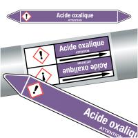 """Marqueurs de tuyauteries CLP """"Acide oxalique"""" (Acides et bases)"""
