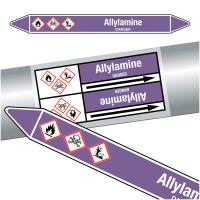 """Marqueurs de tuyauteries CLP """"Allylamine"""" (Acides et bases)"""