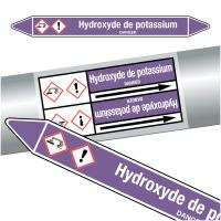 """Marqueurs de tuyauteries CLP """"Hydroxyde de potassium"""" (Acides et bases)"""